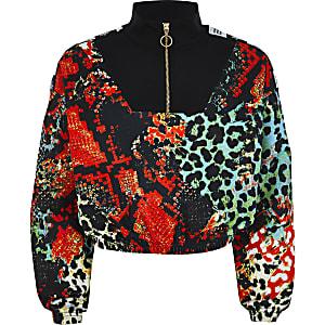 RI x Hype - Rode sweater met slangenprint voor meisjes