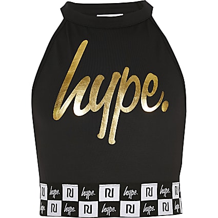 Girls RI x Hype black printed crop top