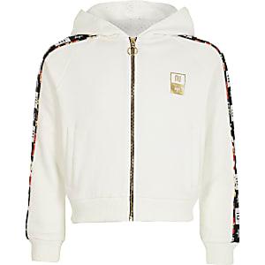 RI x Hype – Sweat à capuche zippé avec bande latérale blanc pour fille