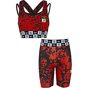 RI x Hype - Rode fietsshort outfit voor meisjes