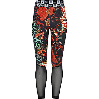 Girls RI x Hype red printed mesh leggings