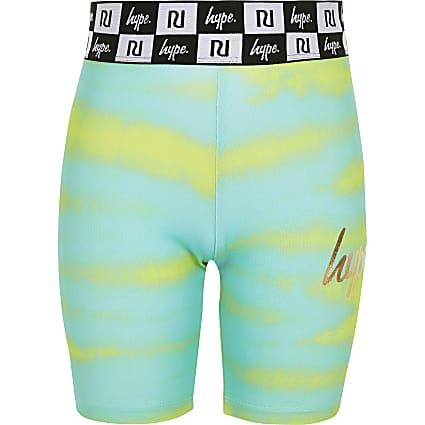 Girls RI x Hype green printed cycling shorts