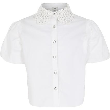 Girls white lace collar puff sleeve shirt
