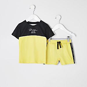 Mini – Prolific– Gelbes T-Shirt-Outfit mit Mesh-Einsatz für Jungen