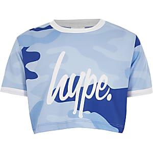 Hype - Blauw cropped T-shirt met camouflageprint voor meisjes