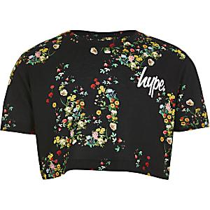 Hype - Zwart cropped T-shirt met bloemenprint voor meisjes