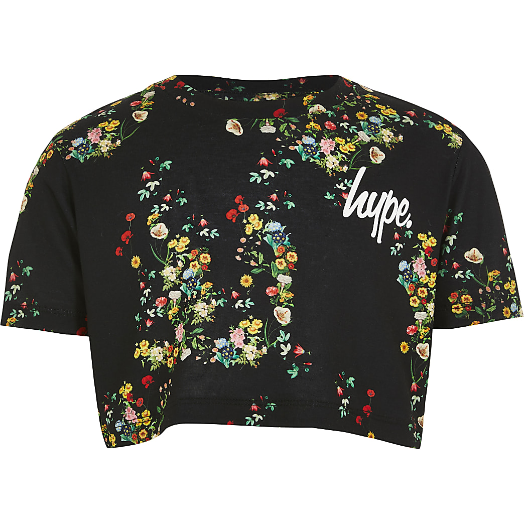 Girls Hype black floral cropped T-shirt