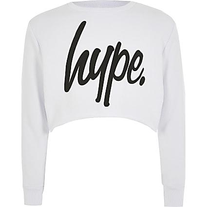 Girls Hype white cropped sweatshirt