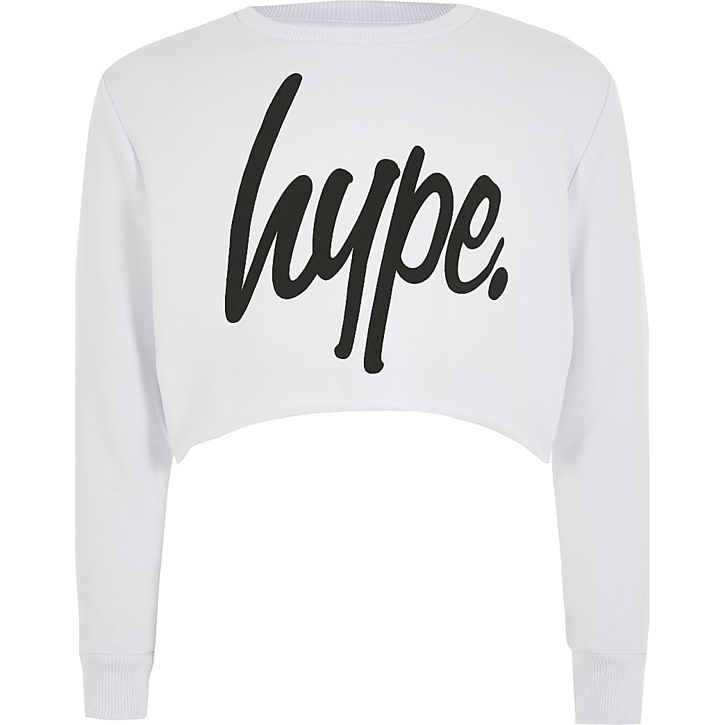 Girls Hype white cropped sweatshirt