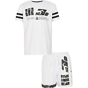 Prolific – Tenue avec t-shirt blanc camouflage en résillepourgarçon