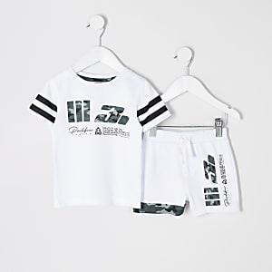 Mini – Prolific– Weißes T-Shirt-Outfit mit Mesh-Einsatz für Jungen