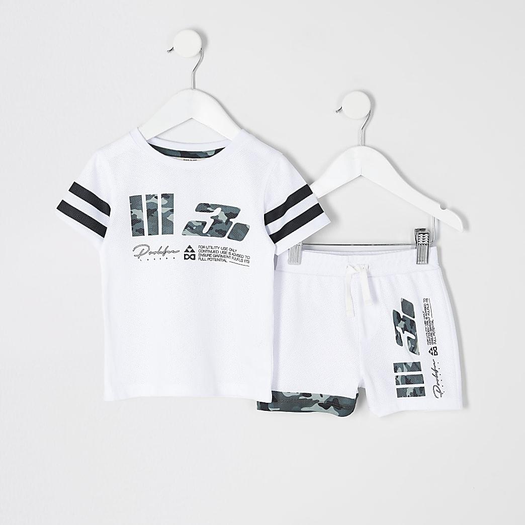 Mini boys white Prolific mesh T-shirt outfit