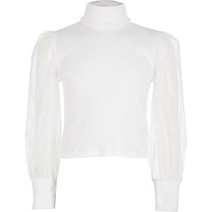 Girls white mesh sleeve high neck ribbed top