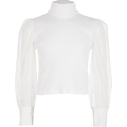 Girls white mesh sleeve high neck ribbed top