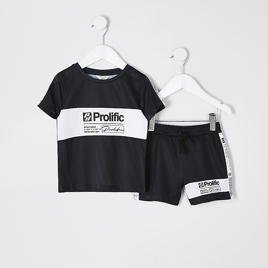 Mini boys black Prolific mesh T-shirt outfit