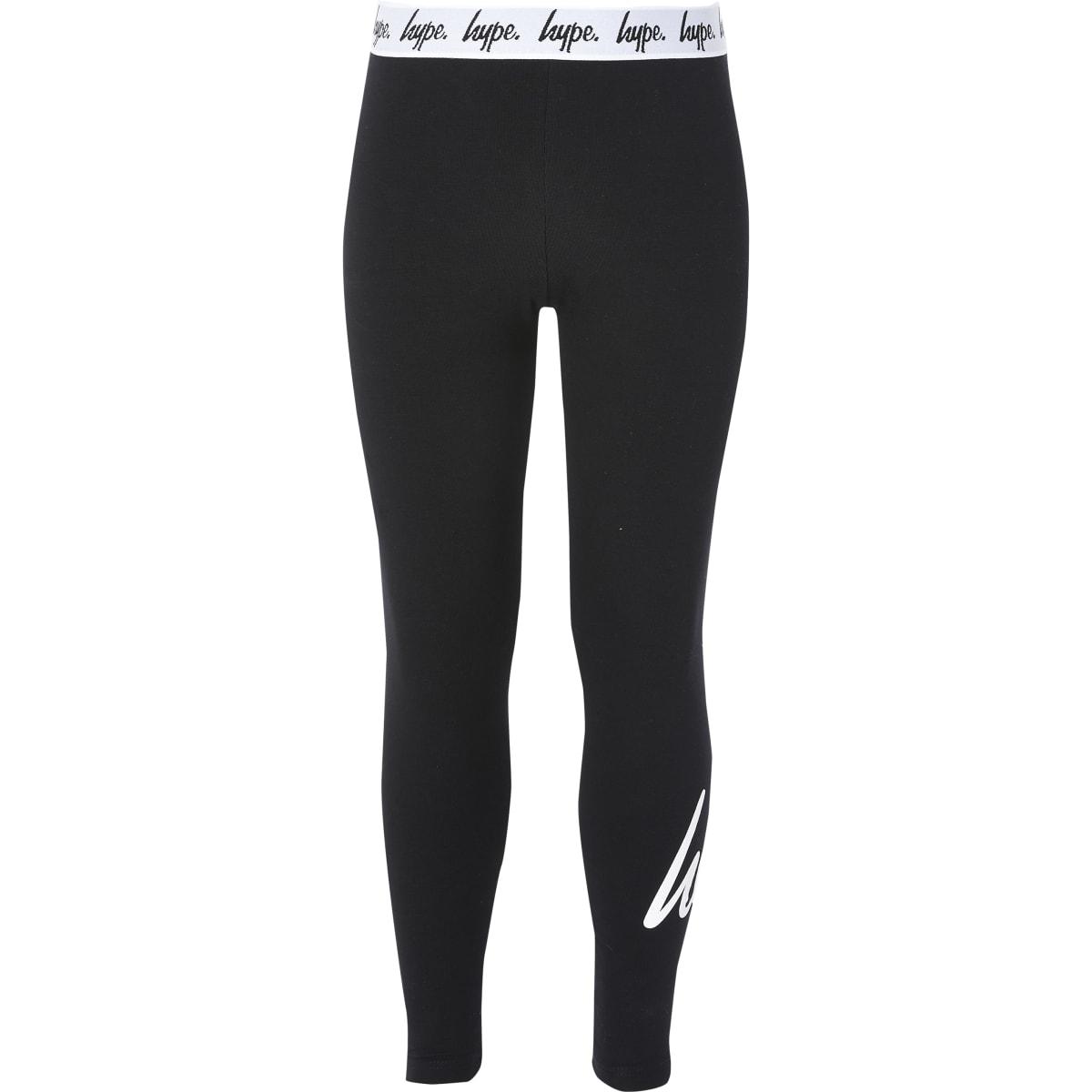 Girls Hype black printed leggings