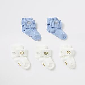 Lot de5 paires de chaussettes bleu et crème pour bébé