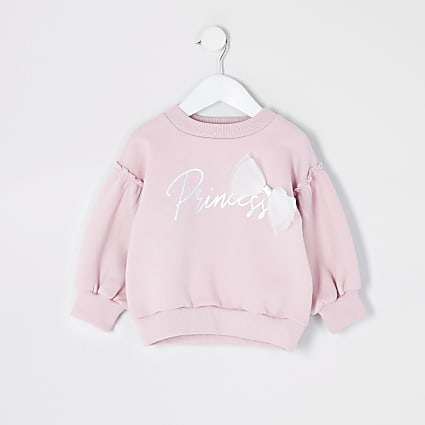 Mini girls purple 'Princess' bow sweatshirt