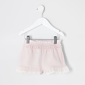 Short à volants en broderie anglaise rose Mini fille