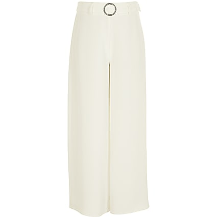 Girls white belted wide leg trousers