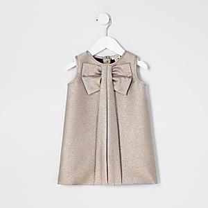 Mini - Roségouden jurk met strik voor meisjes