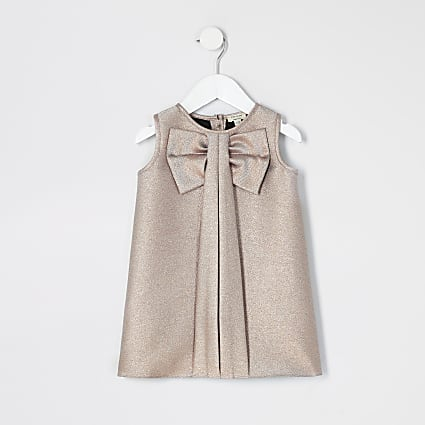 Mini girls rose gold bow shift dress