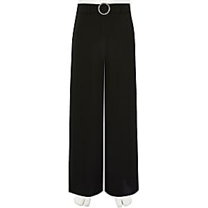 Pantalon large noir avec boucle ornée de strass pour fille