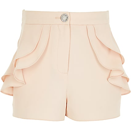 Girls pink ruffle pocket shorts