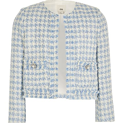 Girls blue boucle jacket