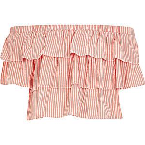 Rode gestreepte bardotpoplin top met ruches voor meisjes