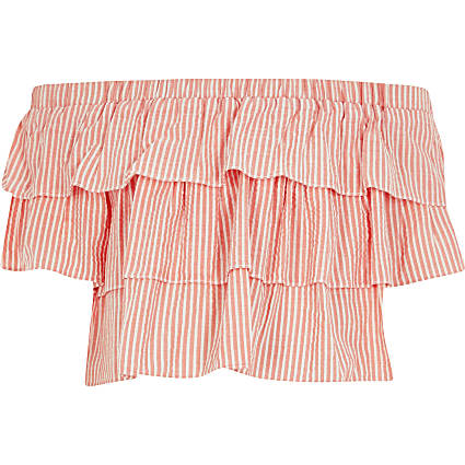 Girls red stripe frill bardot poplin top