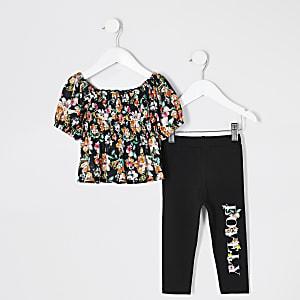 Mini - Zwarte outfit met top met gestroopte stof en bloemenprint voor meisjes