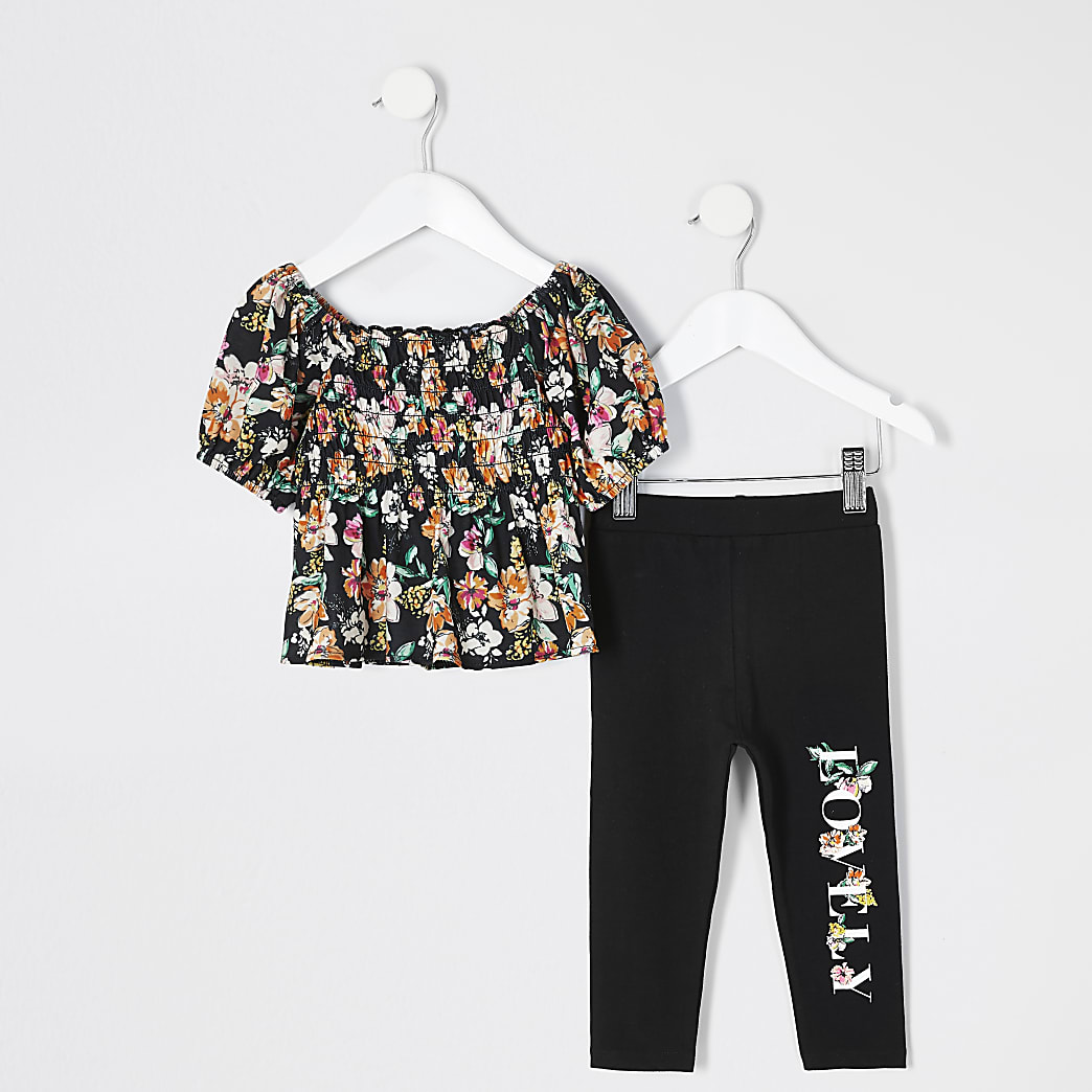 Mini girls black floral shirred top outfit