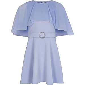 Girls blue mesh cape belted skater dress