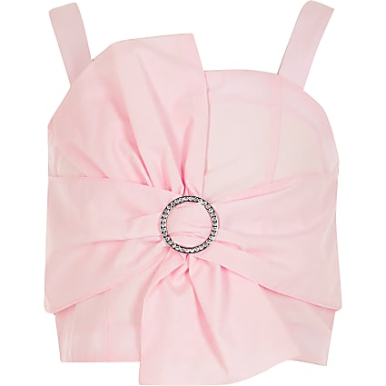 Girls pink bow embellished cropped top