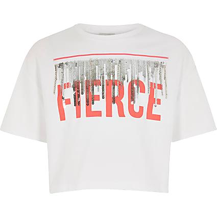 Girls RI Active white 'Fierce' tassel T-shirt