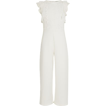 Girls white lace embroidered frill jumpsuit