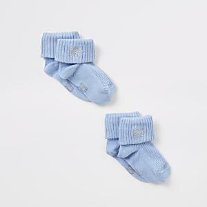 Lot de 2 paires de chaussettes bleues à broderie RI