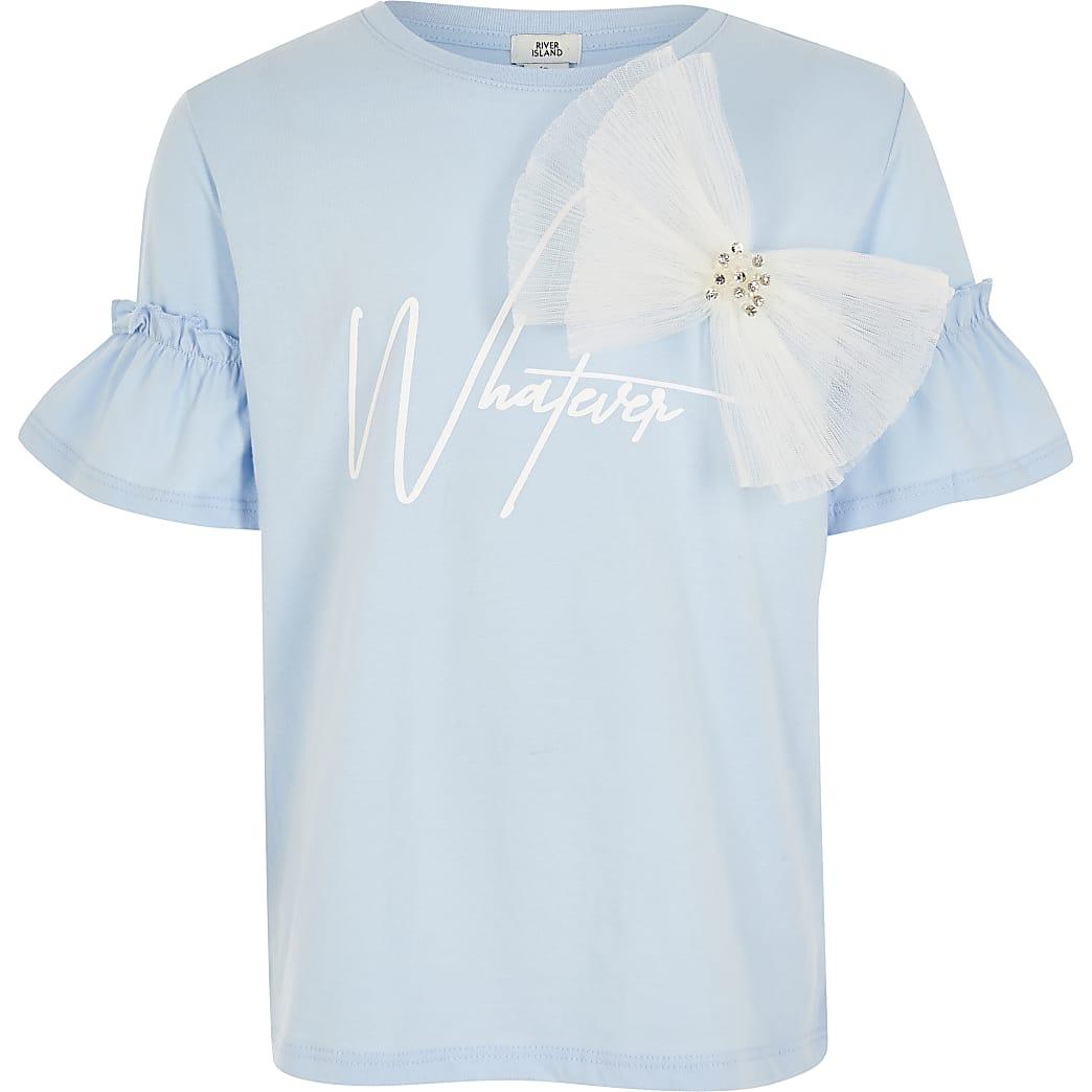 Blauw T-shirt met 'Whatever'-print en organza strik voor meisjes