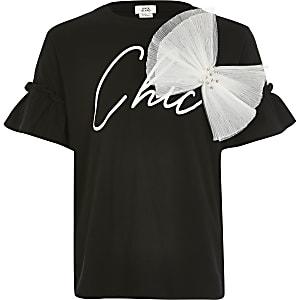 Zwart T-shirt met 'Chic'-print en organza strik voor meisjes