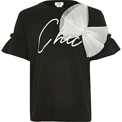 Girls black 'Chic' bow T-shirt