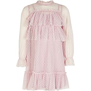 Girls pink mesh frill long sleeve dress