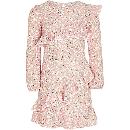 Girls pink ditsy ruffle long sleeve dress
