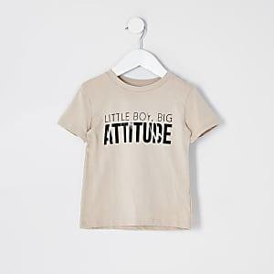 """Mini– T-Shirt """"Attitude"""" in Beige für Jungen"""