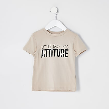 Mini boys beige 'Attitude' T-shirt