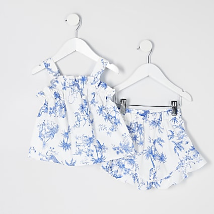 Mini girls white print frill cami top outfit