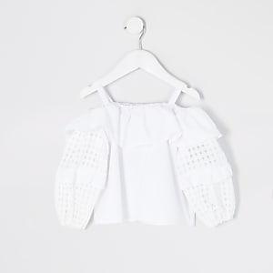 Mini girls white check puff sleeve blouse