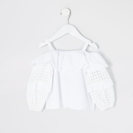 Mini girls white check puff sleeve blouse