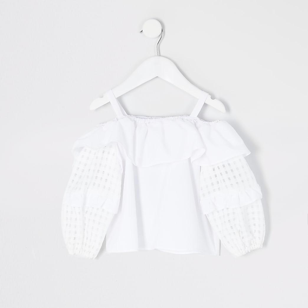 Mini – Weißes Bluse mit Karoärmeln für Mädchen