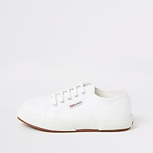 Kids Superga white lace-up trainers